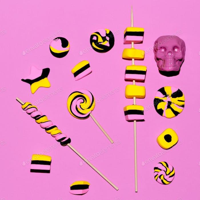 Sweet fashion background. Pink vibes. Candy Minimal Flatlay art