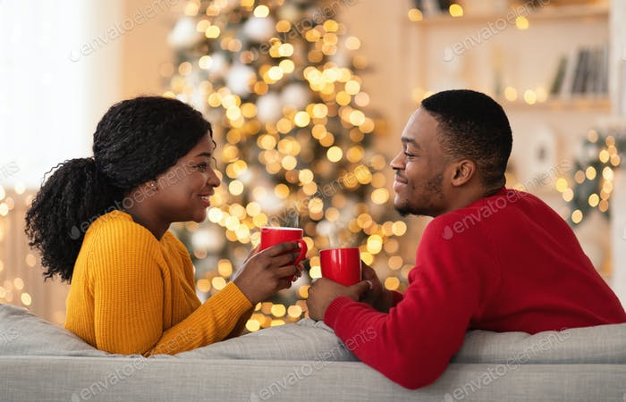 New year mood at home and romantic celebration together