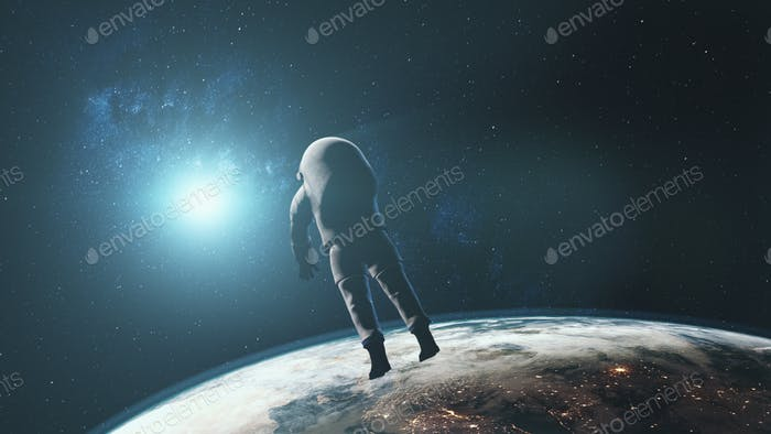 astronaut against realistic planet Earth starlight