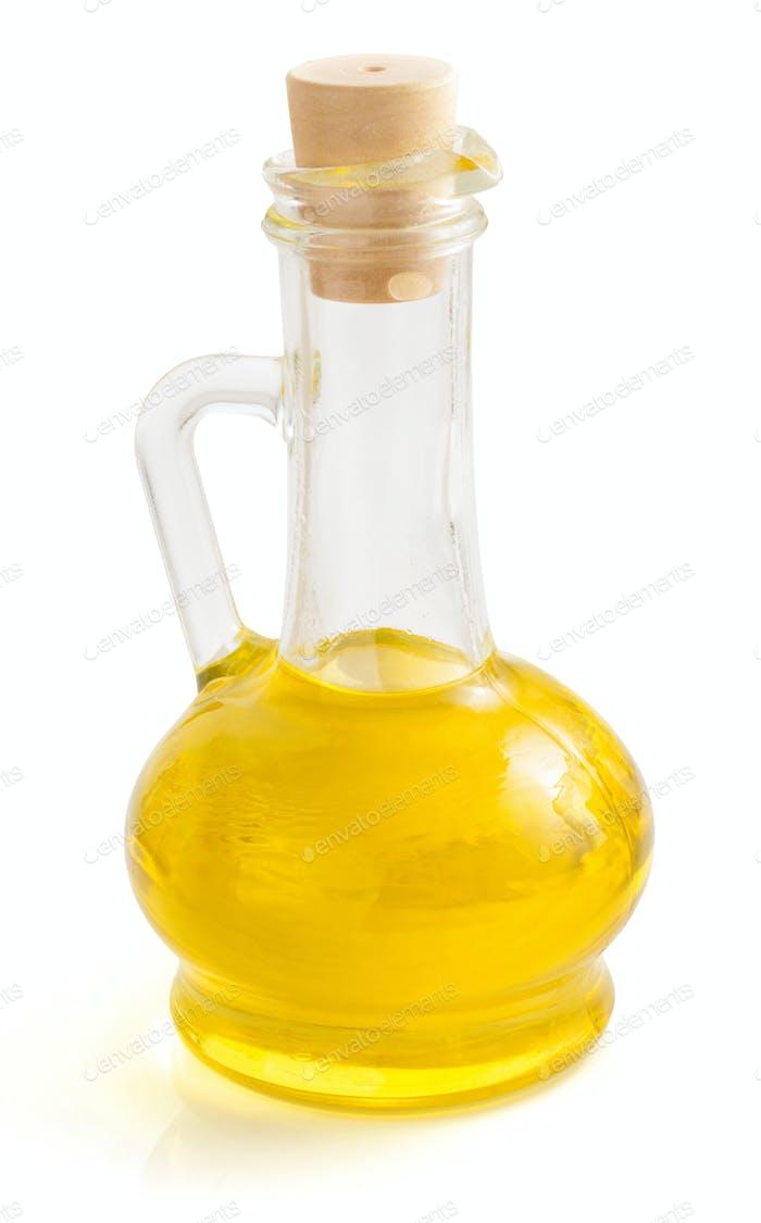 Flasche Öl isoliert auf weiß
