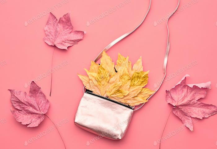 Autumn Arrives.Fashion Handbag Clutch.Fall Leaves.