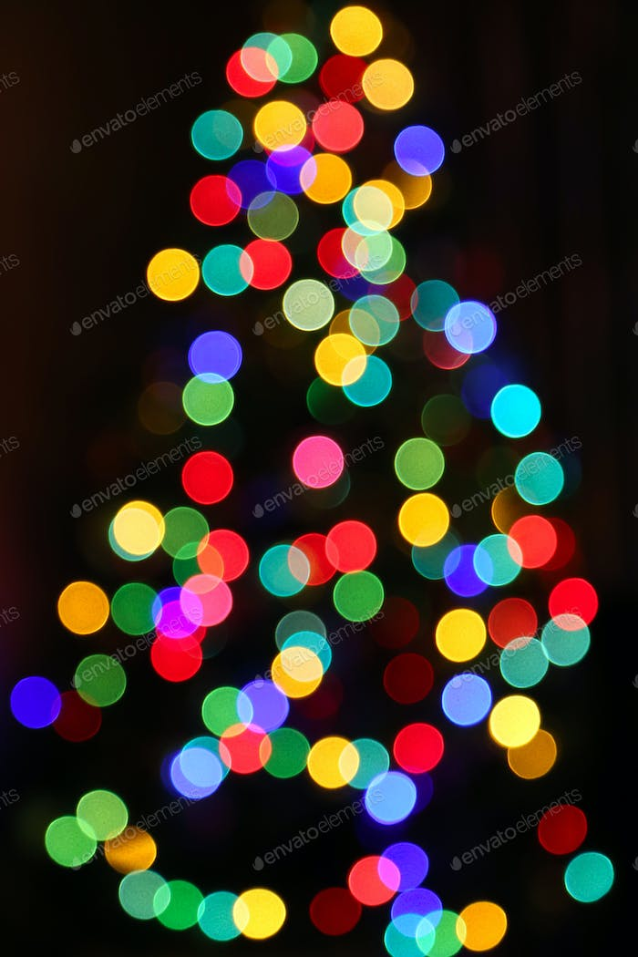 Unfocused Bright lights of Christmas Tree