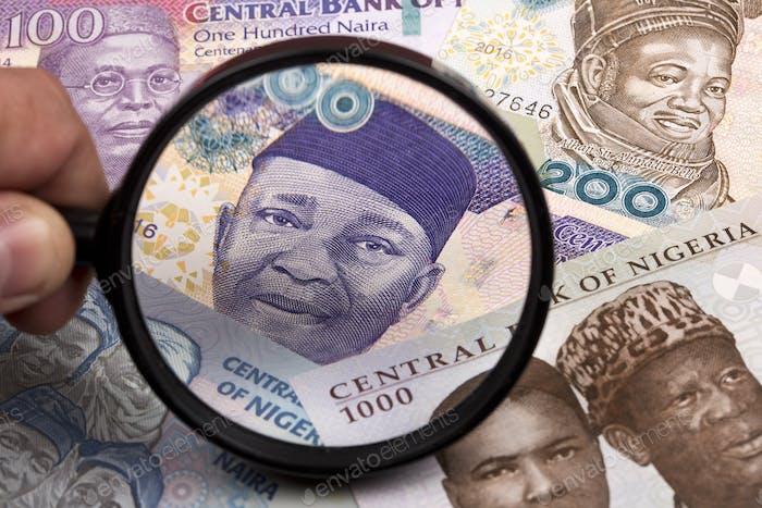 Dinero nigeriano en una lupa