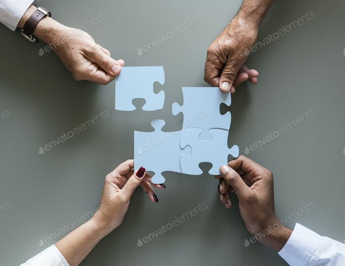 Business Teamwork Zusammenarbeit Puzzle isoliert