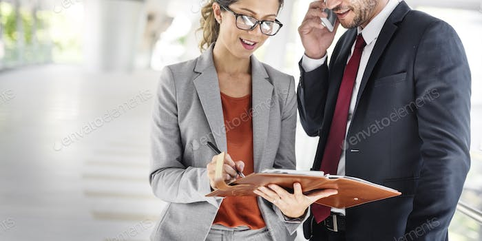 Business People Discussion Mobile Phone Telecommunication Concep