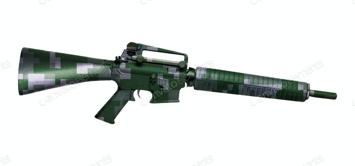 M16 rifle isolated on white