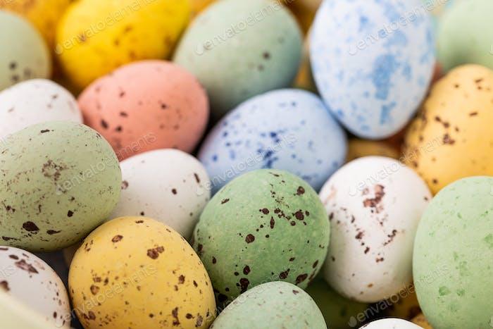 Colourful Easter quail eggs