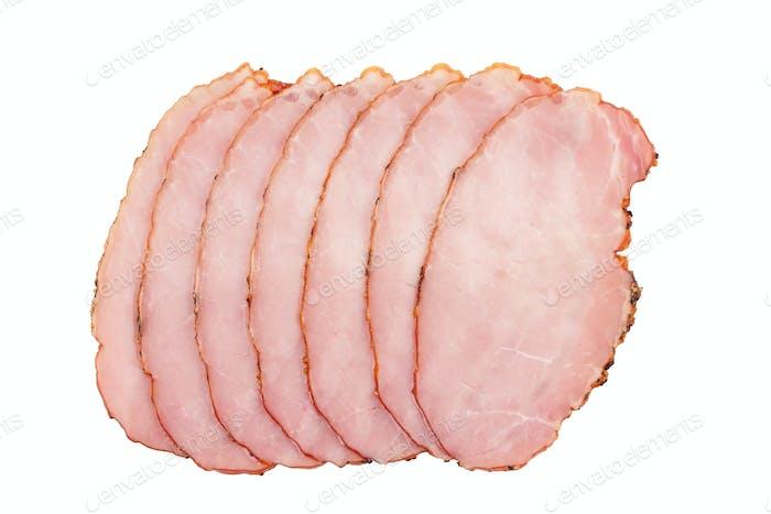 geräuchertes Schweinefleischfilet Scheiben auf weiß isoliert