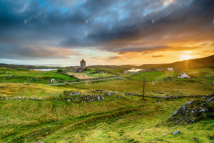Sunset over Rodel on the Isle of Harris
