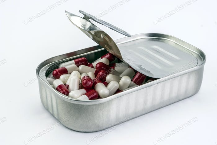 Tin metal contains white pills and red