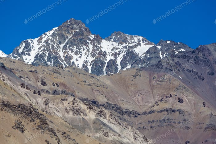 Aconcagua mountain peak with clear blue sky. Argentina