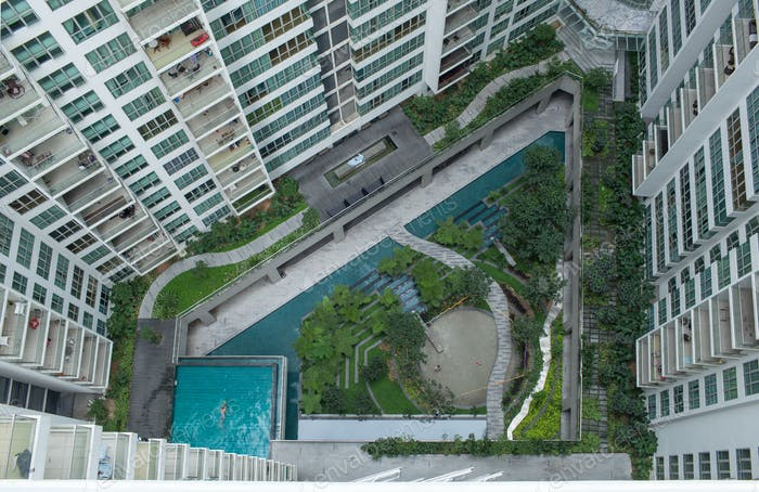 Aerial shot of landscape area outside apartment blocks