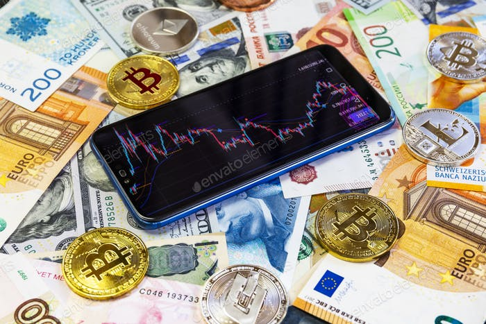 Various cryptocurrencies and a smartphone with a graph
