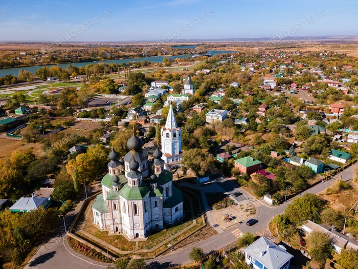 View of center of Starocherkassk city from the drone