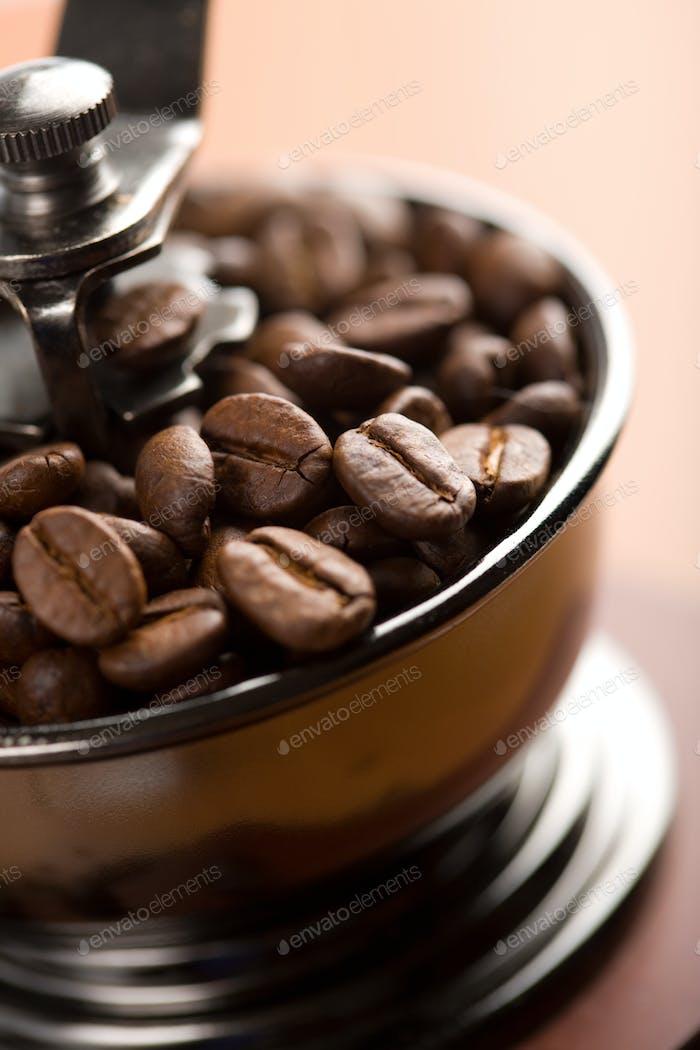 roasted coffee beans in coffee grinder