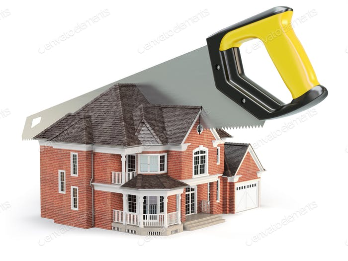 Saw is splitting a house isolated on white background.  Divorce
