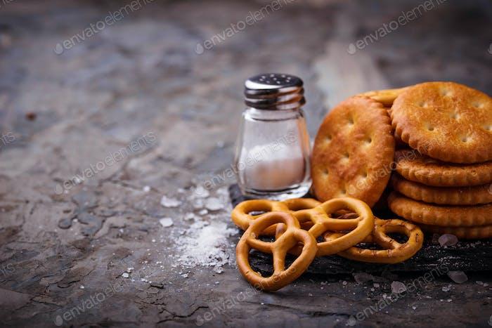 Salted snacks pretzel  and cracker