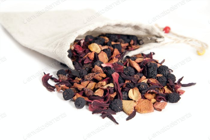 fruits and berries tea with hibiscus
