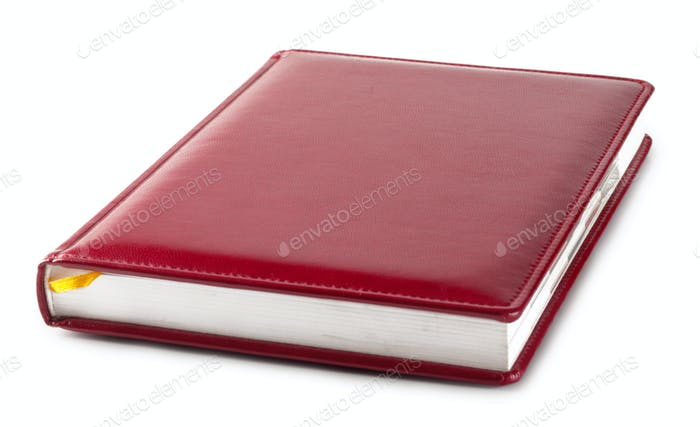 Red diary with bookmark