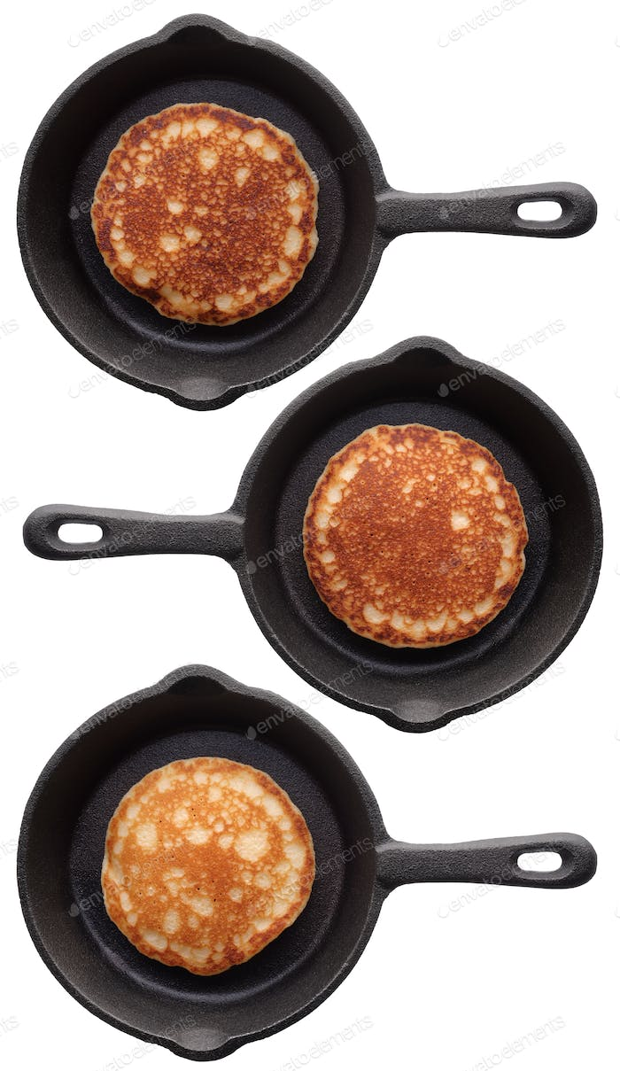 Set of three various pancakes on a frying pan