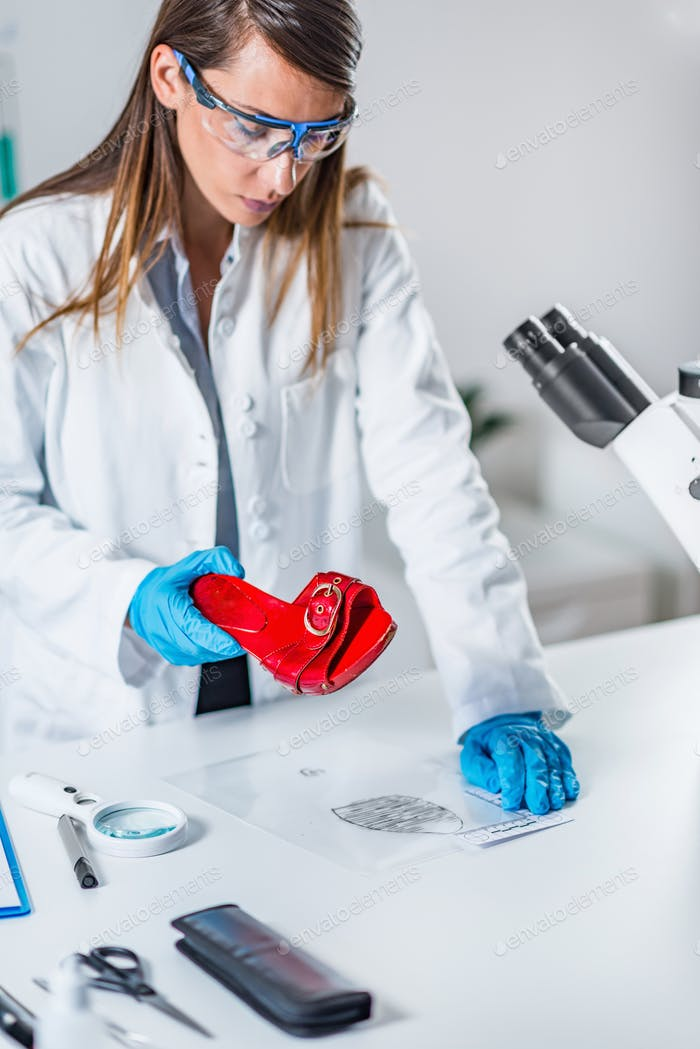 Forensic science expert examining objects from a crime scene