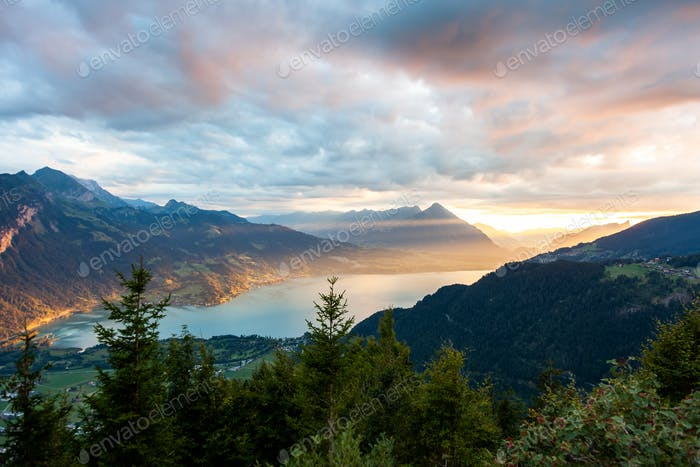 Sunset view of Thun lake in Interlaken from Harder Kulm observat
