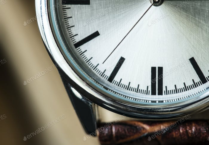 Closeup Makroaufnahme einer Uhr