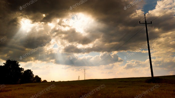 Dramatic stormy sky over rural landscape
