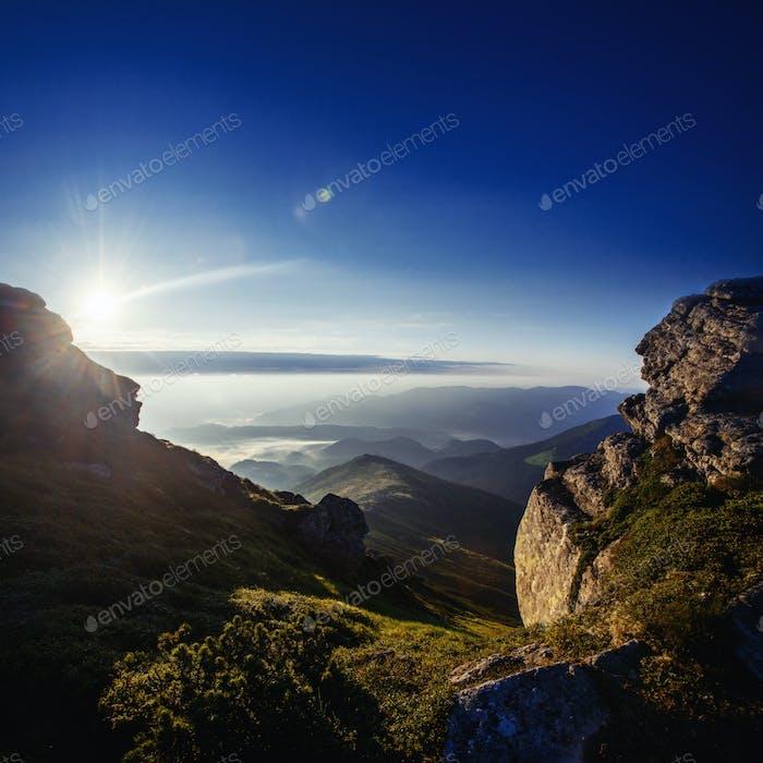 Beautiful sunny mountain landscape