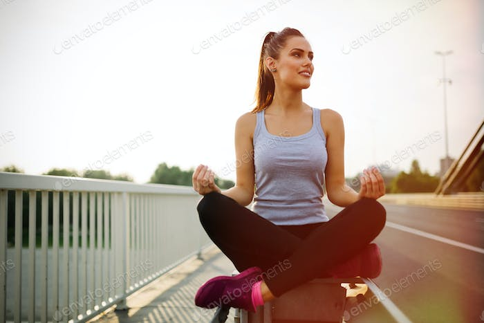 Healthy woman in lotus posture