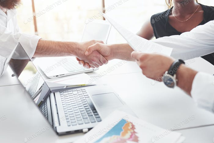 Handshake mean successful contract between companies. Conception of business