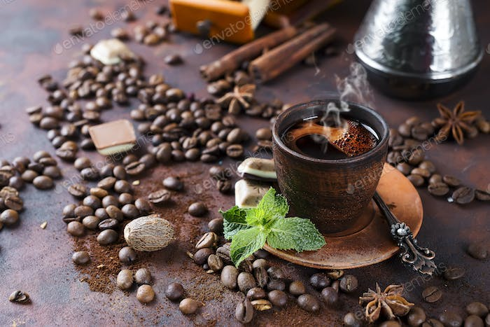 cup of coffee with mint