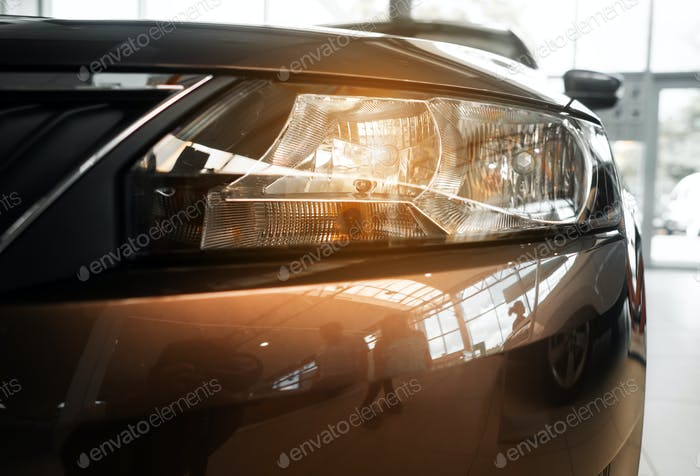 The headlamp of a modern prestigious car from a close angle