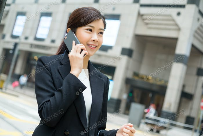 Asian businesswoman chat on smart phone