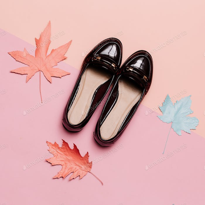 Fashionable shoes for Lady Vintage Concept. Minimal design