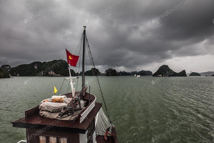 Stormy Ha Long Bay in Vietnam