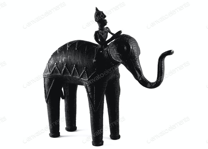 Dark bronze elephant statue