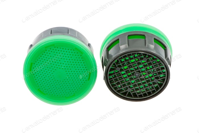 Two isolated plastic faucet aerators