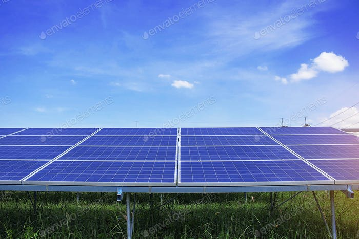 Solar panels with blue sky.