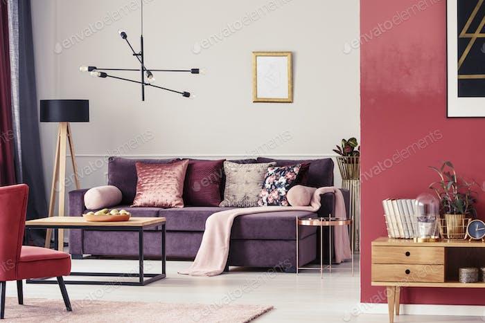 Maroon living room interior