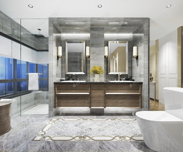 3d rendering modern classic bathroom with luxury tile decor with night view from window