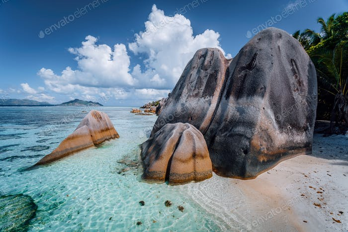 Anse Source d'Argent -amazing tropical beach with huge granite boulders and shallow blue lagoon