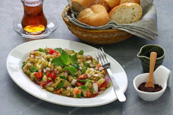 Turkish eggplant salad called Patlican Salatasi.