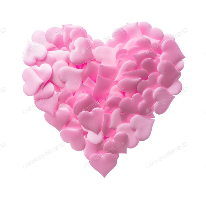 Big heart made of small pink hearts