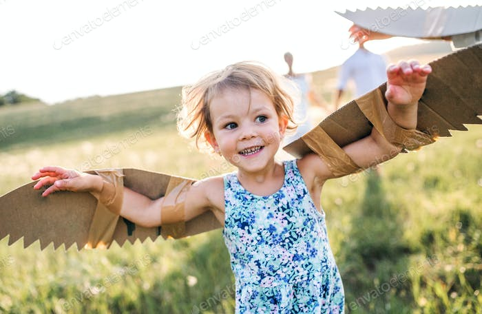 A small girl playing on a meadow in nature, flying with wings.