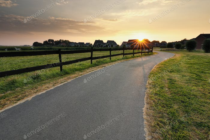 sunshine over cycling path by wooden fence