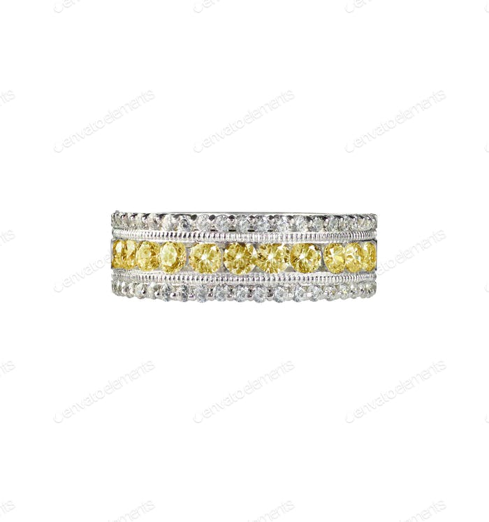 Kanarien-gelber Diamant Ehering Citrin Ring