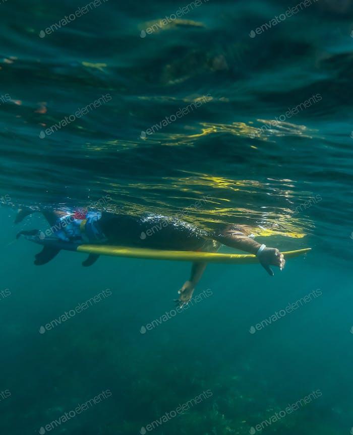Surfer auf einem Brett, Unterwasseransicht