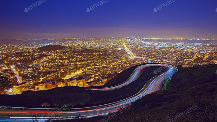 Aerial view of San Francisco Cityscape at Night