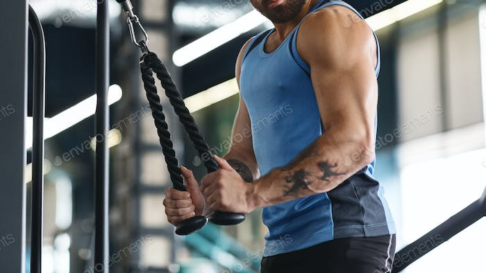 Muscular guy exercising with training apparatus at gym